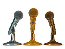 Gold. silver and bronze microphones Stock Photo