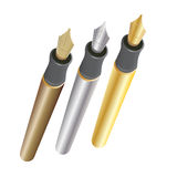 Gold Silver and Bronze Pens Royalty Free Stock Photos