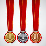 Gold, Silver, Bronze Place Badge, Medal Set Vector. Realistic Achievement With First, Second, Third Placement. Round Championship Stock Images
