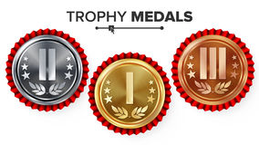 Gold, Silver, Bronze Place Badge, Medal Set Vector. Realistic Achievement With First, Second, Third Placement. Round Championship Stock Photos
