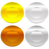 Gold, silver, bronze and platinum badges / butotns Stock Photo