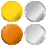 Gold, silver, bronze and platinum badges, seals, buttons. Royalty free  illustration Stock Photography