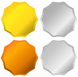 Gold, silver, bronze and platinum badges, seals, buttons. Royalty free  illustration Stock Photo