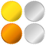Gold, silver, bronze and platinum badges, seals, buttons. Royalty free vector illustration Stock Image
