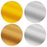 Gold, silver, bronze and platinum seals, awards, starbursts Royalty Free Stock Photography