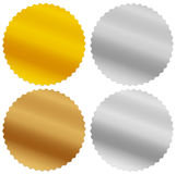 Gold, silver, bronze and platinum seals, awards, starbursts Stock Image