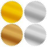 Gold, silver, bronze and platinum seals, awards, starbursts Stock Photography