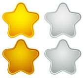 Gold, silver, bronze, platinum star shapes isolated on white. Royalty free vector illustration vector illustration