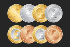 gold, silver and bronze pound coins Stock Image