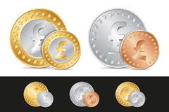 gold, silver and bronze pound coins Royalty Free Stock Images