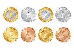 gold, silver and bronze pound coins Royalty Free Stock Photography
