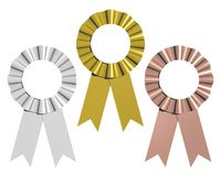 Gold, Silver, Bronze Ribbons. Gold, silver, and bronze award ribbons isolated on white Stock Photo