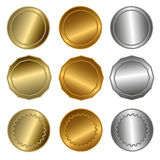 Gold, silver and bronze seals or medals Stock Photography