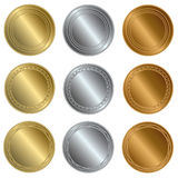 Gold, silver and bronze seals or medals Royalty Free Stock Photo
