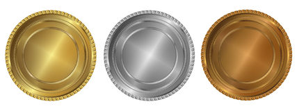 Gold, silver and bronze seals or medals Stock Photo