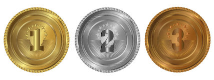 Gold, silver and bronze seals or medals. Seals or medals set of white isolated Stock Photo
