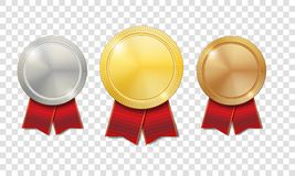 Gold, silver and bronze shiny medals with red ribbons  on transparent background. Champion Award Medals sport. Prize. Vector illustration EPS 10 Royalty Free Stock Photo