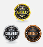 Badge Gold Silver Bronze Set Stock Photography