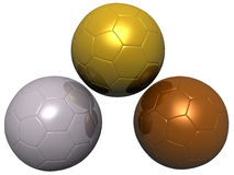 Gold, Silver, Bronze Soccer ball Royalty Free Stock Images