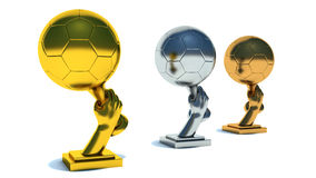 Gold, silver and bronze soccer cup Stock Images