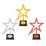 Gold silver bronze star award Royalty Free Stock Photography