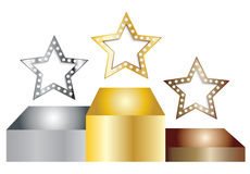Star in a podium. Gold silver on bronze star in a podium EPS 10 Stock Images