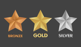 Gold Silver and Bronze star set  illustration Royalty Free Stock Photography