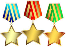Gold, silver and bronze stars (vector) Stock Photos