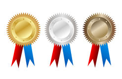 Gold,silver and bronze tags Royalty Free Stock Image