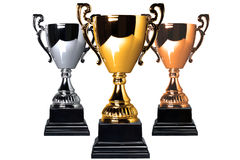 Gold Silver and Bronze trophies. Isolated on a white background stock photography