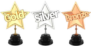 Gold, silver and bronze trophies / awards Royalty Free Stock Photos