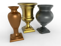 Gold silver and bronze trophies. 3D render illustration of a gold silver and bronze trophies. The composition is isolated on a white background with shadows Royalty Free Stock Photo