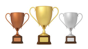 Gold, Silver and Bronze Trophies. Isolated on white background. 3D render Stock Photography