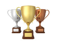 Gold, Silver and Bronze Trophies. Isolated on white background. 3D render Stock Images