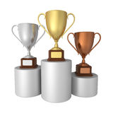 Gold, Silver and Bronze Trophies Stock Image