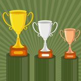 Gold, Silver and Bronze Trophy Stock Photography