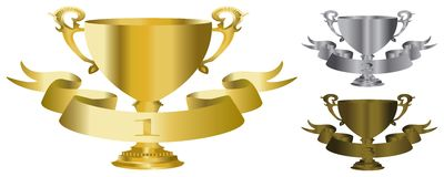 Gold, silver and bronze trophy Stock Images