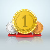 Gold, Silver and Bronze Trophy award. Winners concept. Vector. Royalty Free Stock Photos