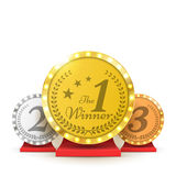 Gold, Silver and Bronze Trophy award. Winners concept. Vector. Stock Image