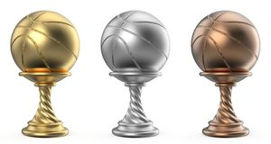 Gold, silver and bronze trophy cup BASKETBALL 3D. Render illustration isolated on white background Royalty Free Stock Photography