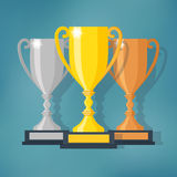 Gold, Silver and Bronze Trophy Cup Royalty Free Stock Photography