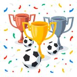 Gold, silver and bronze trophy cup in flat cartoon style. Winner cups, football balls and confetti on white background. 1st, 2nd, 3rd place Sport goblet Stock Photos