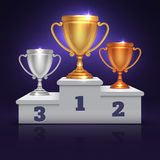 Gold, silver and bronze trophy cup, prize goblet on sport winner podium, pedestal vector illustration Royalty Free Stock Photos