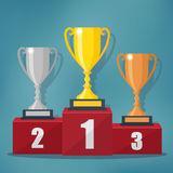 Gold, Silver and Bronze Trophy Cup. Stock Photo