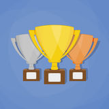 Gold, Silver and Bronze Trophy Cup Stock Image