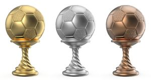 Gold, silver and bronze trophy cup SOCCER FOOTBALL 3D. Render illustration isolated on white background Royalty Free Stock Image