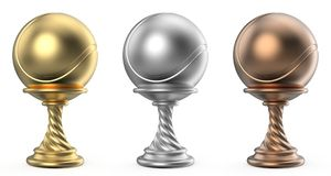 Gold, silver and bronze trophy cup TENNIS 3D. Render illustration isolated on white background Stock Image