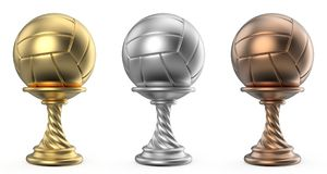 Gold, silver and bronze trophy cup VOLLEYBALL 3D. Render illustration isolated on white background Royalty Free Stock Photography