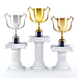 Gold silver and bronze trophy's Royalty Free Stock Images