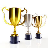 Gold silver and bronze trophy's Stock Images